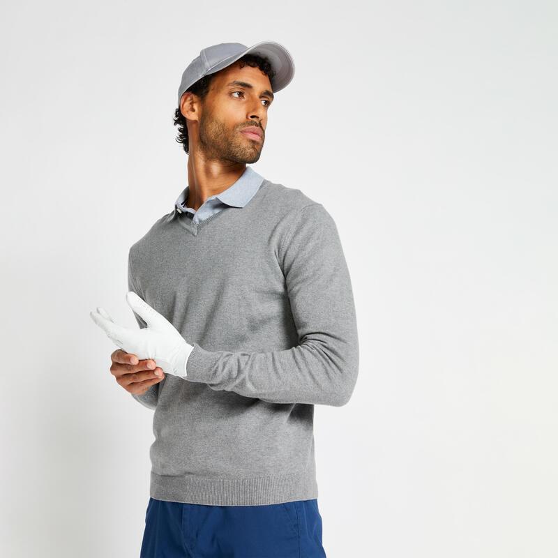 Pull de golf col V homme MW500 gris