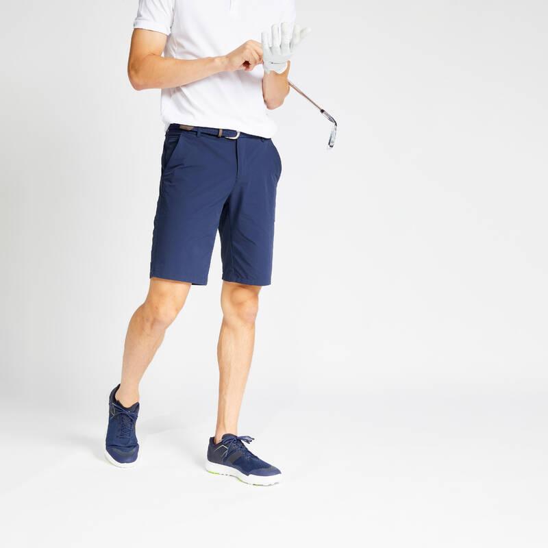 PÁNSKÉ GOLFOVÉ OBLEČENÍ DO TEPLÉHO POČASÍ Golf - GOLFOVÉ KRAŤASY WW500 MODRÉ  INESIS - Golfové oblečení