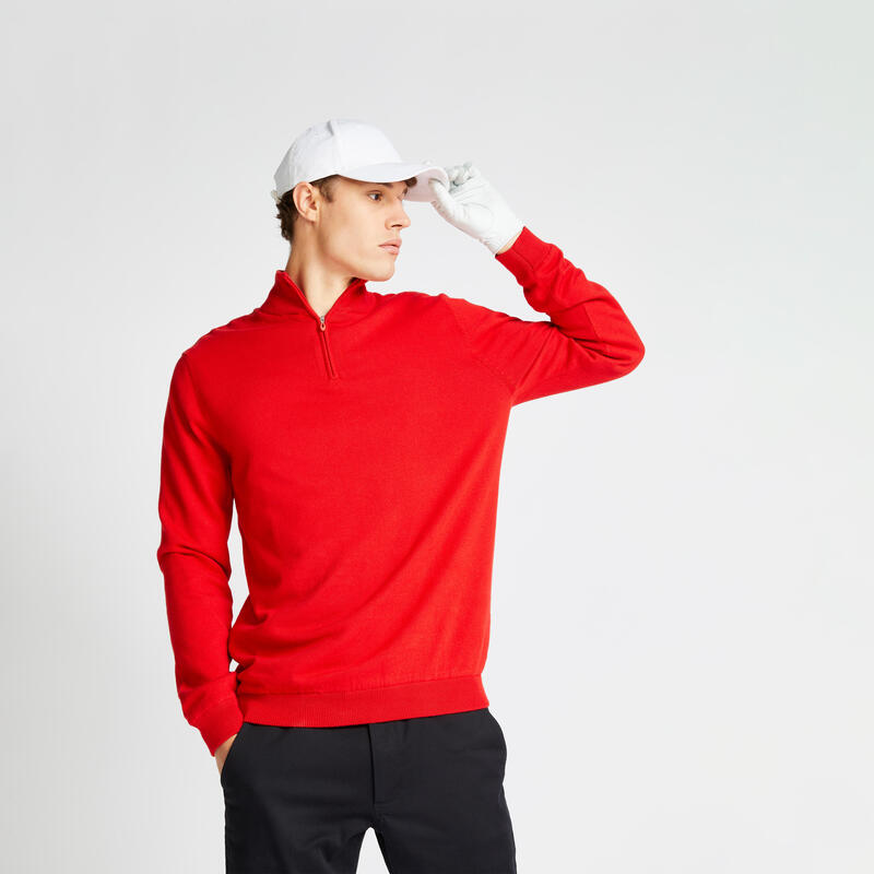 Men's golf windproof pullover MW500 red