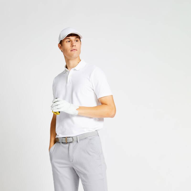 PÁNSKÁ GOLFOVÁ POLA, MÍRNÉ POČASÍ Golf - GOLFOVÉ POLO MW500 BÍLÉ  INESIS - Golfové oblečení