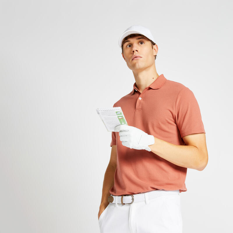 Polo de golf manches courtes homme MW500 terracotta