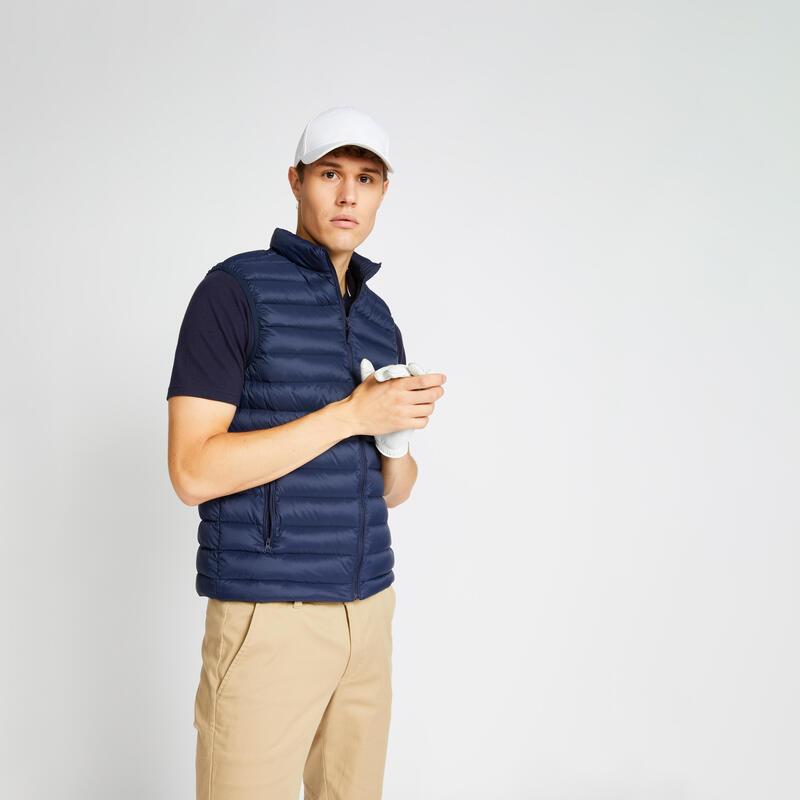 Doudoune duvet de golf sans manches homme MW500 bleu marine