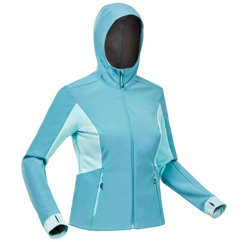 Jachetă Softshell protecție vânt trekking la munte TREK500 WINDWARM Turcoaz damă