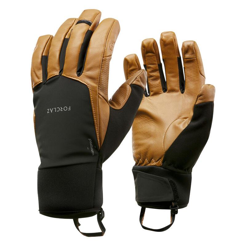 Guantes de piel trekking montaña - TREK 900 impermeables marrón - adulto
