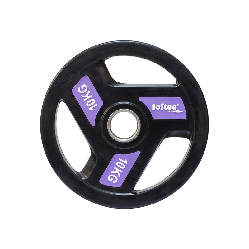 Disco olímpico 50 mm musculación Softee 10kg con agarres negro