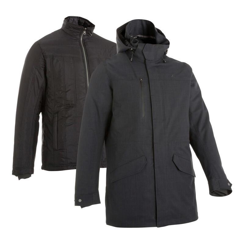 Chaqueta 3en1 impermeable confort -15 °C trekking viaje TRAVEL 700 negro Hombre