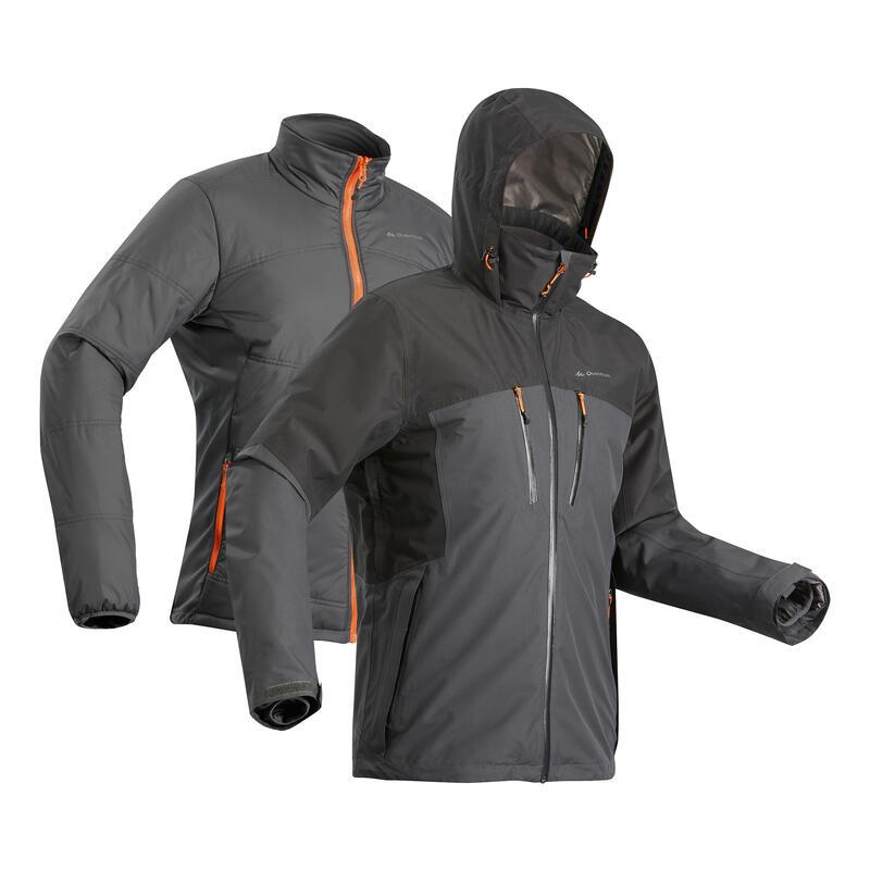 Men's 3-in-1 Waterproof Travel Trekking Jacket Travel 500 -10°C - Black