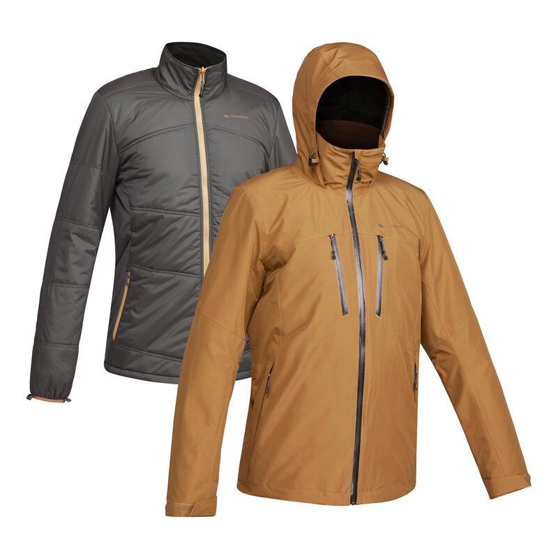 Men's 3-in-1 Waterproof Travel Trekking Jacket - TRAVEL 500 -10°C - Camel