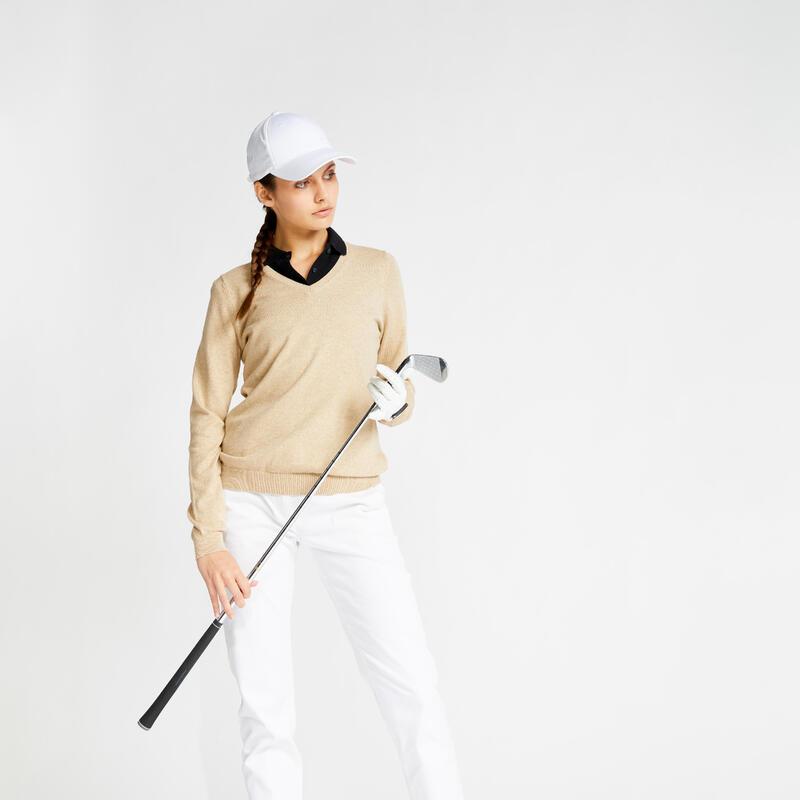 Pull de golf col V femme MW500 beige