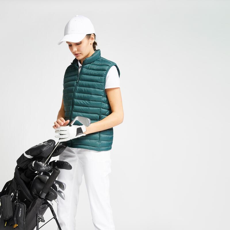 Doudoune duvet sans manches de golf Femme MW500 vert foncé
