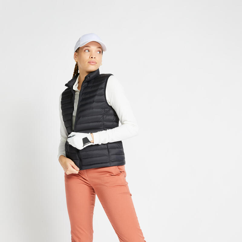 Doudoune duvet sans manches de golf Femme MW500 noire
