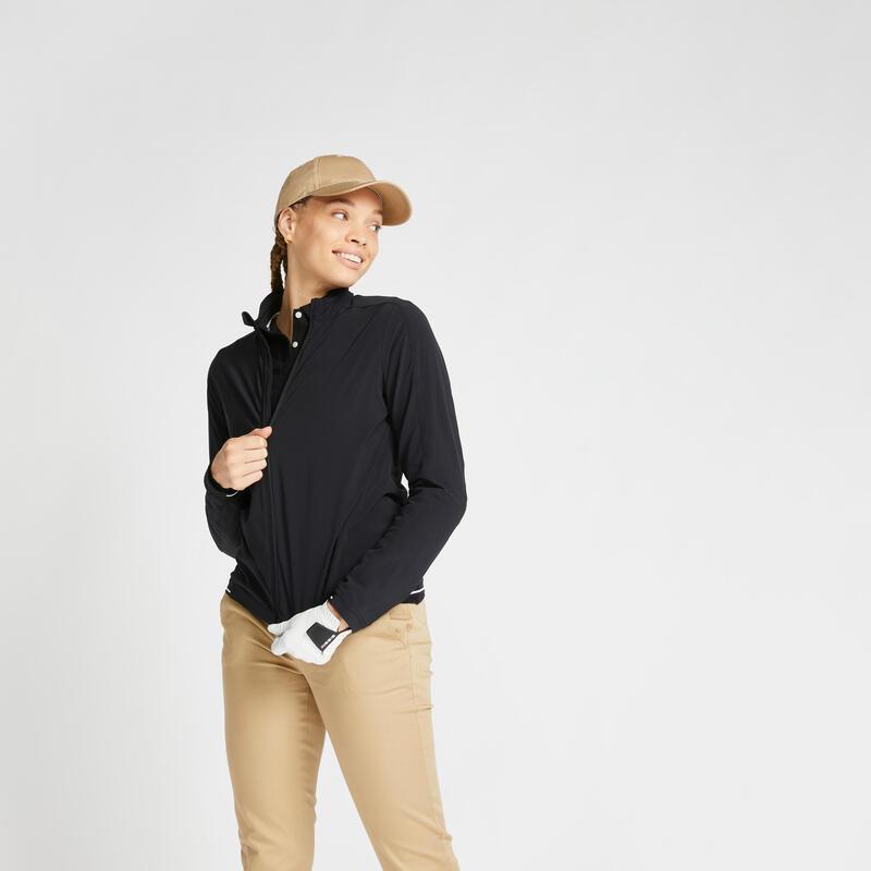 Women's water-repellent golfing windbreaker RW500 - black
