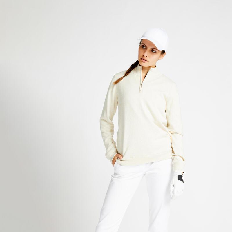 Women's windproof golfing pullover MW500 - ecru