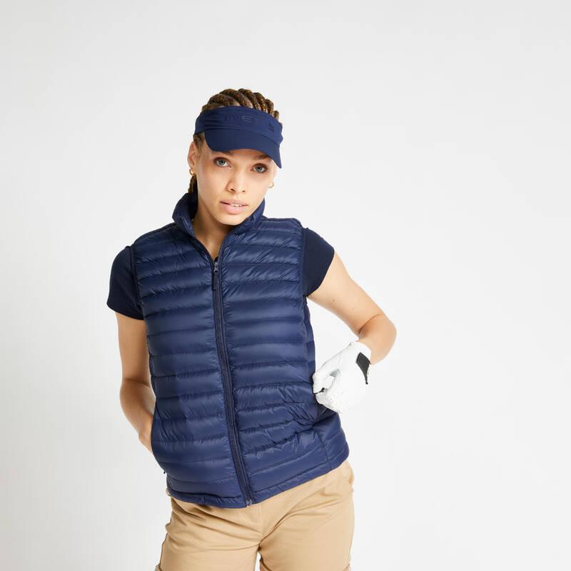 DÁMSKÉ GOLFOVÉ BUNDY - MÍRNÉ POČASÍ Golf - PÉŘOVÁ VESTA MW500 TMAVĚ MODRÁ INESIS - Golfové oblečení