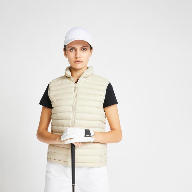 Doudoune duvet sans manches de golf Femme MW500 lin
