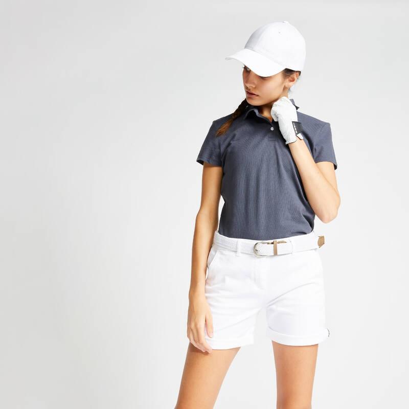 DÁMSKÉ GOLFOVÉ OBLEČENÍ DO MÍRNÉHO POČASÍ Golf - DÁMSKÉ POLO MW100 ŠEDÉ INESIS - Golfové oblečení