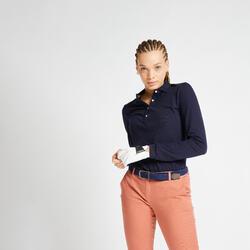 女款高爾夫長袖POLO衫-軍藍色