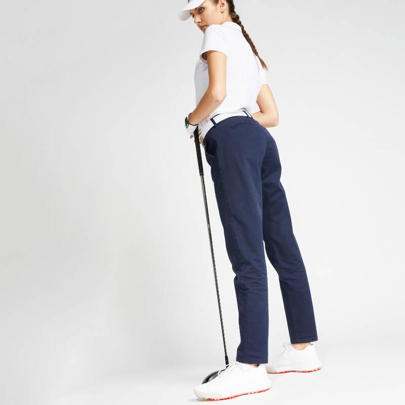 DÁMSKÉ GOLFOVÉ KALHOTY - MÍRNÉ POČASÍ Golf - DÁMSKÉ KALHOTY MW500 MODRÉ INESIS - Golfové oblečení