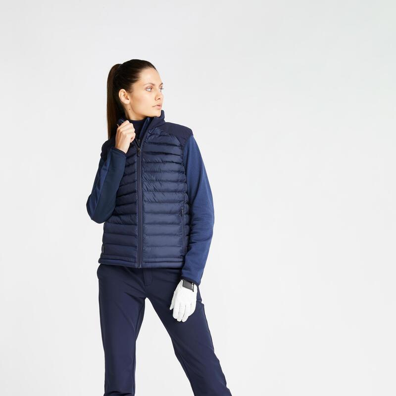 Doudoune sans manches de golf hiver femme CW500 bleu marine