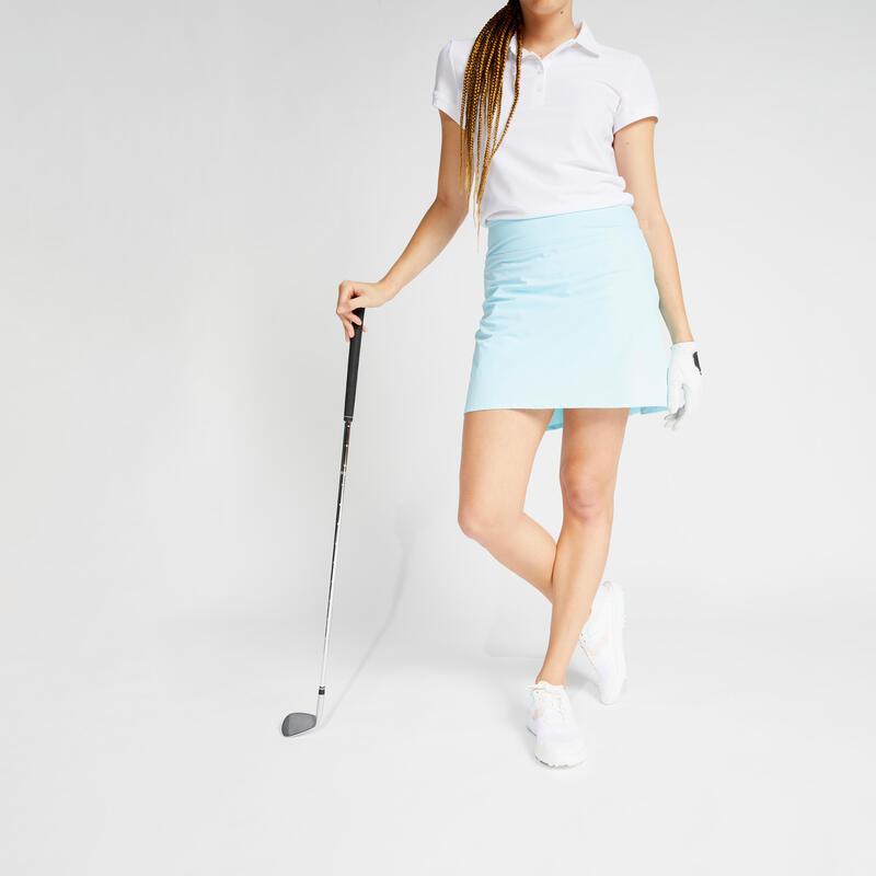 Jupe-short de golf femme WW500 bleu clair