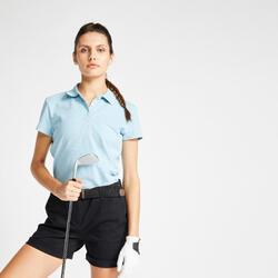 Polo de Golf WW500 Manga Curta Mulher Azul celeste