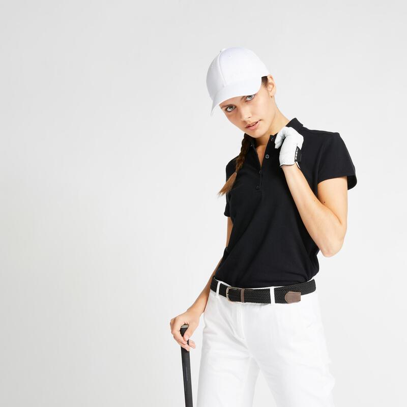 Women's golf short-sleeved polo shirt MW500 black
