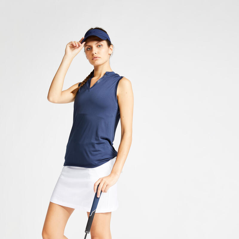 Polo de golf sans manches femme WW900 bleu marine