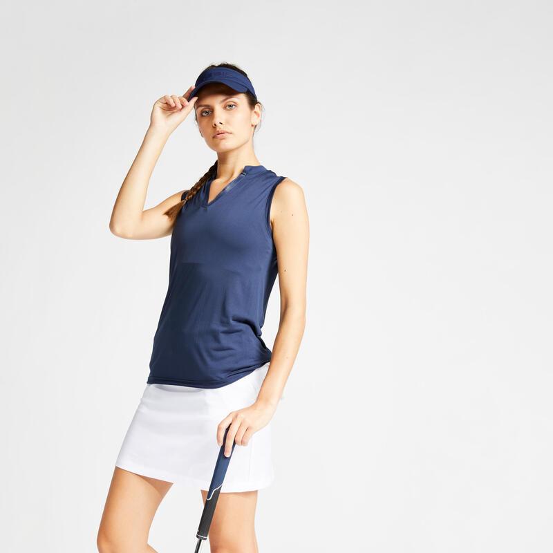 Women's Ultralight Sleeveless Golf Polo Shirt - Navy Blue
