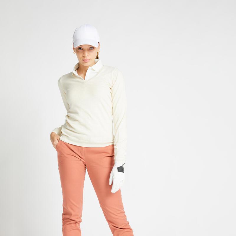 Pull de golf col V femme MW500 écru