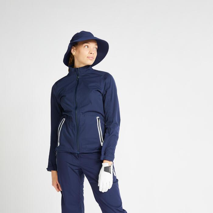 Veste de pluie de golf imperméable femme RW500 bleu marine