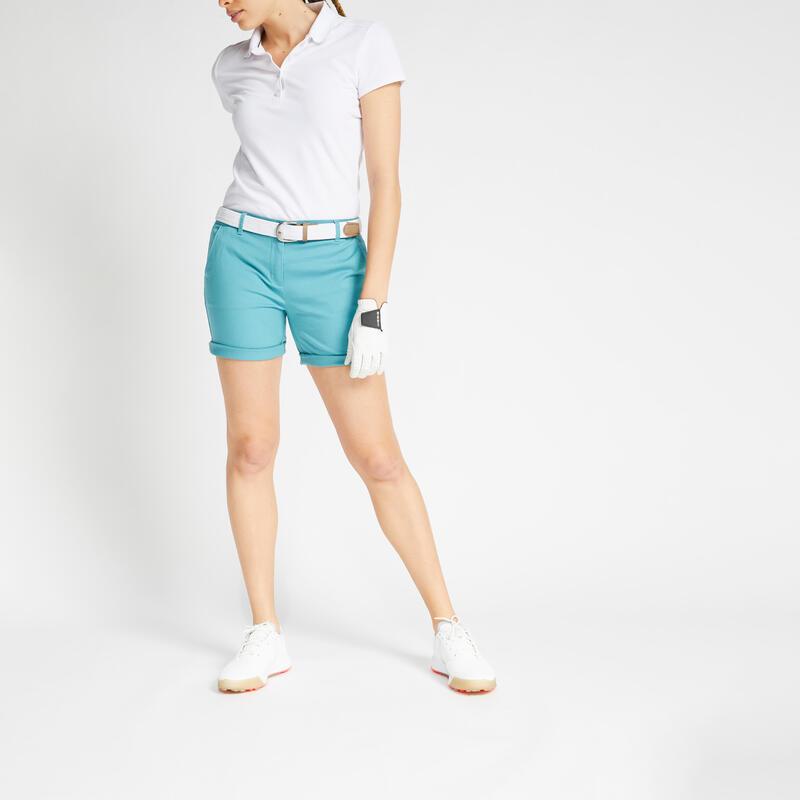 Pantaloncini golf donna 500 azzurro-grigio