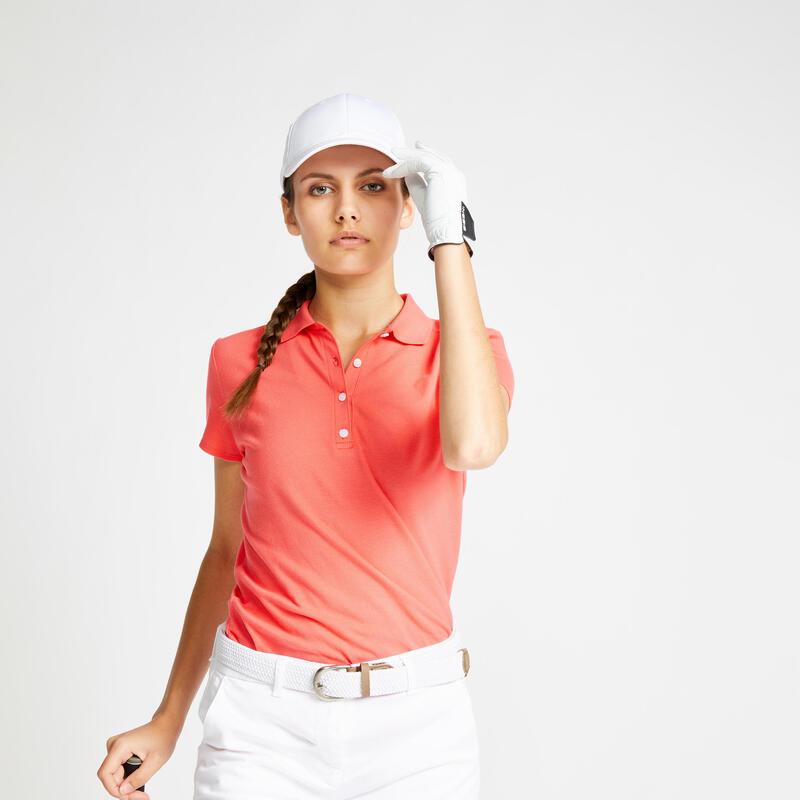 Polo de golf manches courtes femme MW500 rose fraise
