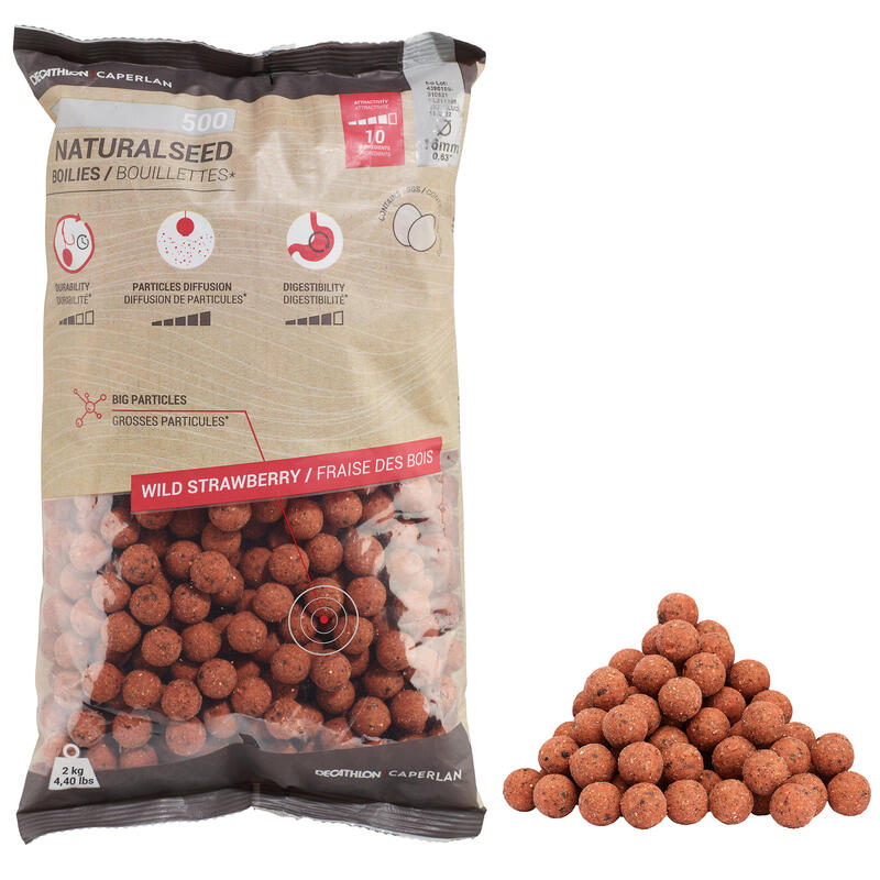Carp Fishing Boilies NATURALSEED 16 mm 2 kg - Wild Strawberry