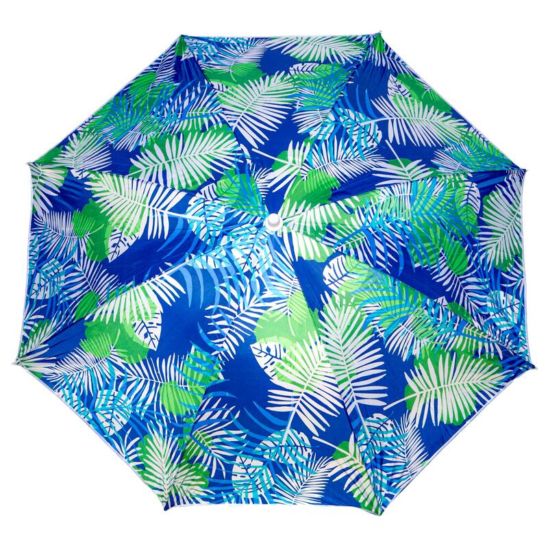 Parasol rayé imprimé tropical