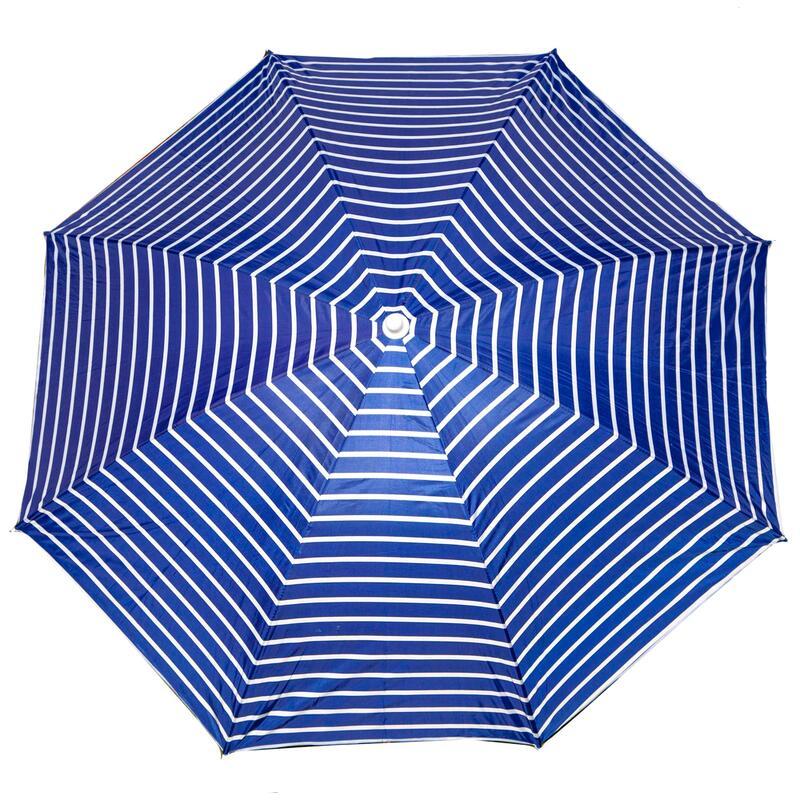 Parasol rayé bleu blanc