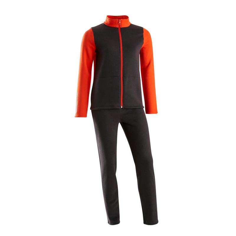 Kids' Basic Fleecy Warm Zip-Up Tracksuit Warmy - Red/Black