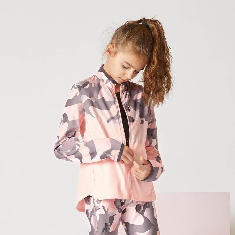 Veste zippée légère imprimée rose fille