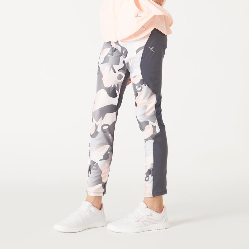 กางเกงเลกกิ้งเด็กผู้หญิงใยสังเคราะห์ระบายอากาศได้สำหรับกายบริหารรุ่น S500 (พิมพ์ลายสีเทา/ชมพู)