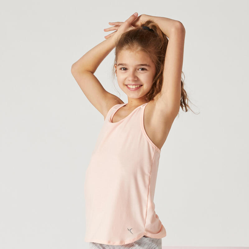 Camiseta sin mangas transpirable rosa niña