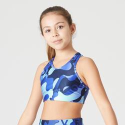Top bambina ginnastica S500 azzurro con stampa