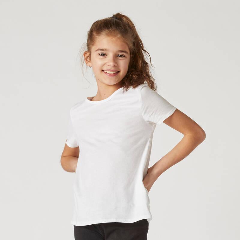 DÍVČÍ OBLEČENÍ NA CVIČENÍ Cvičení pro děti - DÍVČÍ TRIČKO 100 BÍLÉ DOMYOS - Dětské oblečení na cvičení