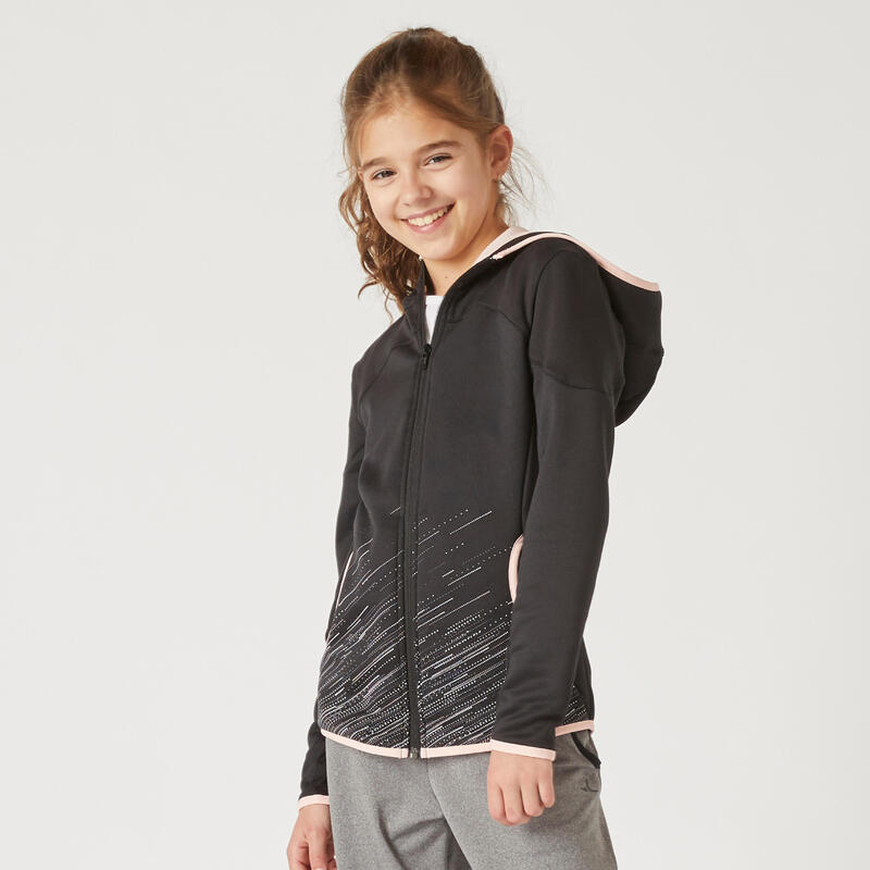 Kids' Zip Hoodie Sweatshirt - Black/Pink Print