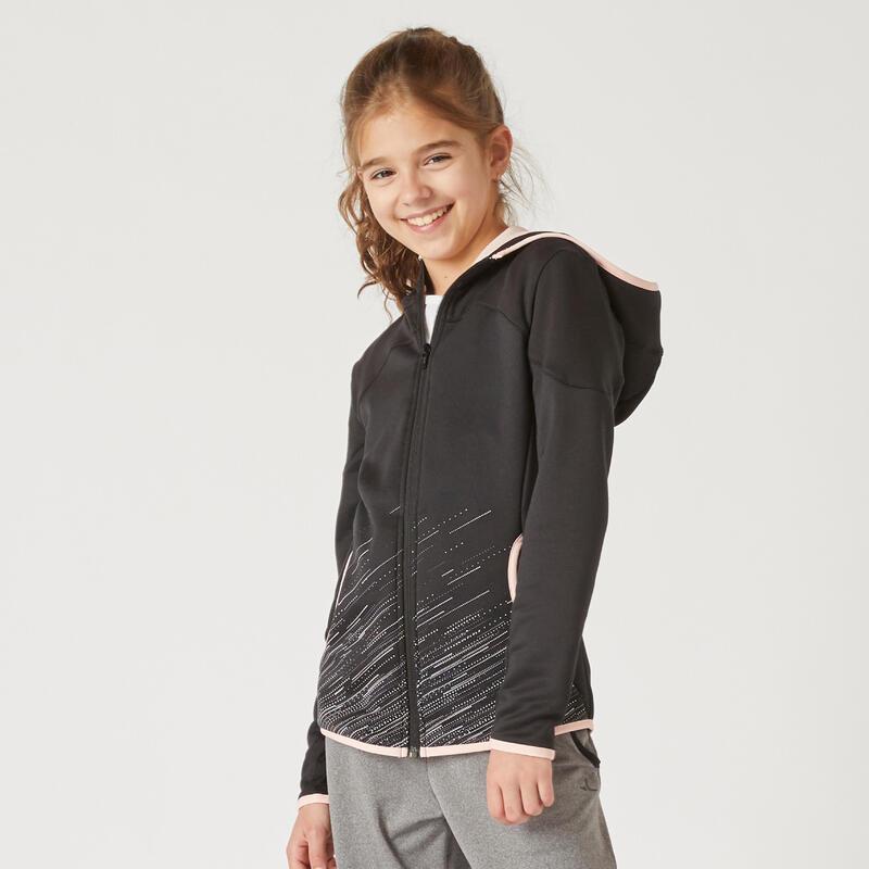 Sweat zippé à capuche noir et imprimé rose enfant
