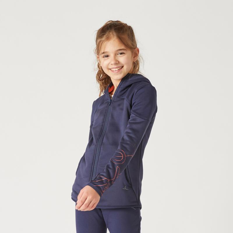 Kids' Zip-Up Hooded Sweatshirt - Navy/Coral