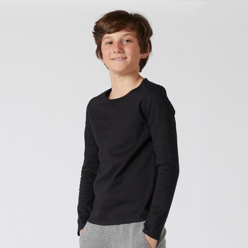T-Shirt manches longues basique noir ENFANT