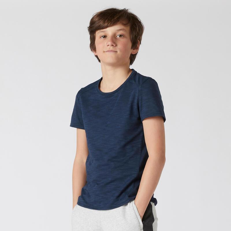 T-shirt enfant bi-matière respirant - 500 bleu marine