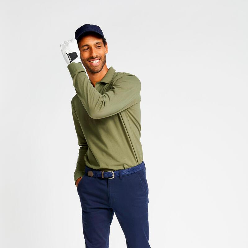 Polo de golf manches longues homme MW500 kaki