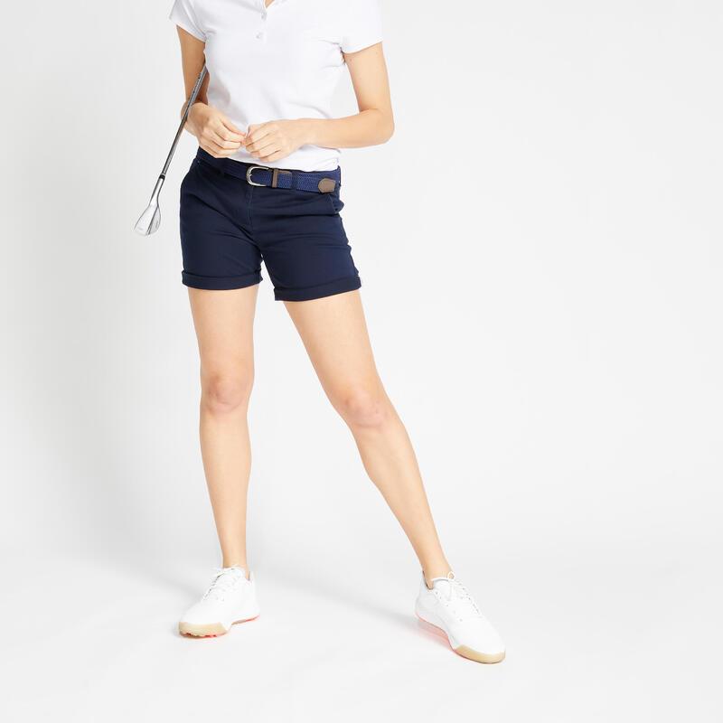 Pantaloncini golf donna 500 blu