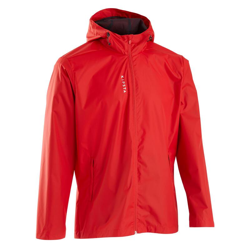 Veste de football imperméable T100 adulte rouge