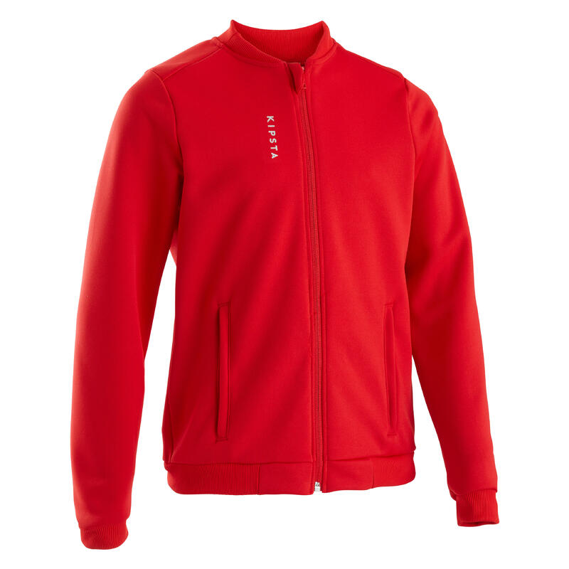 Kids' Football Training Jacket T100 Red - Belgium